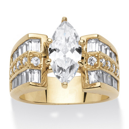 4 TCW Marquise-Cut Cubic Zirconia 14k Gold over Sterling Silver Ring