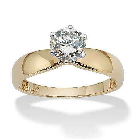 1.25 TCW Round Cubic Zirconia Solitaire Engagement Ring in 10k Gold