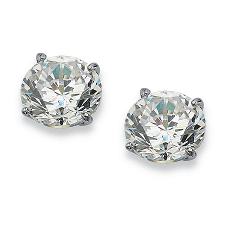 1 TCW Round Cubic Zirconia 10k White Gold Stud Earrings