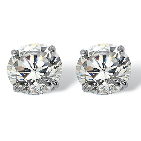 3 TCW Round Cubic Zirconia 10k White Gold Stud Earrings