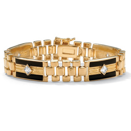 Men's 1.48 TCW Cubic Zirconia Genuine Onyx 14k Yellow Gold-Plated Bar-Link Bracelet 8