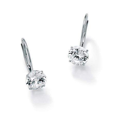3 TCW Round Cubic Zirconia 10k White Gold Drop Earrings