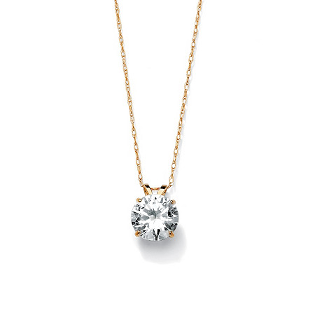 2-Carat Round Cubic Zirconia 10k Yellow Gold Solitaire Pendant and Rope Chain 18