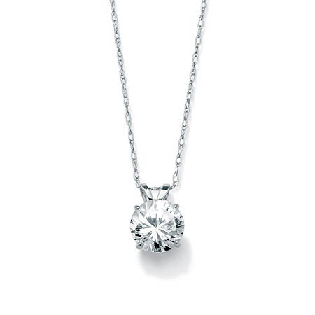1.25-Carat Round Cubic Zirconia 10k White Gold Solitaire Pendant and Rope Chain 18