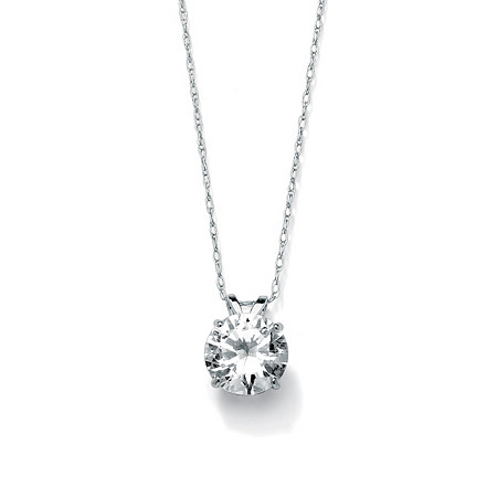 2-Carat Round Cubic Zirconia 10k White Gold Solitaire Pendant and Rope Chain 18