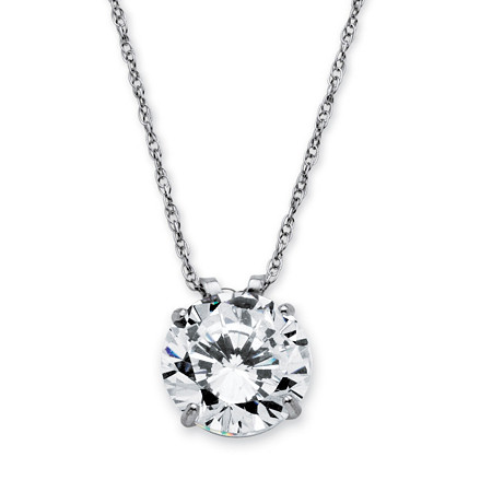3-Carat Round Cubic Zirconia 10k White Gold Solitaire Pendant and Rope Chain 18