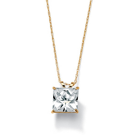 2.12-Carat Princess-Cut Cubic Zirconia 10k Yellow Gold Solitaire Pendant and Chain 18