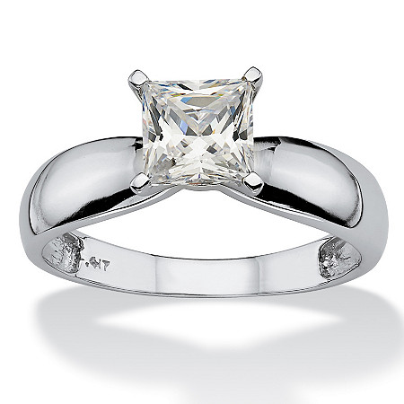 1.20 TCW Princess-Cut Cubic Zirconia 10k White Gold Bridal Engagement Solitaire Ring