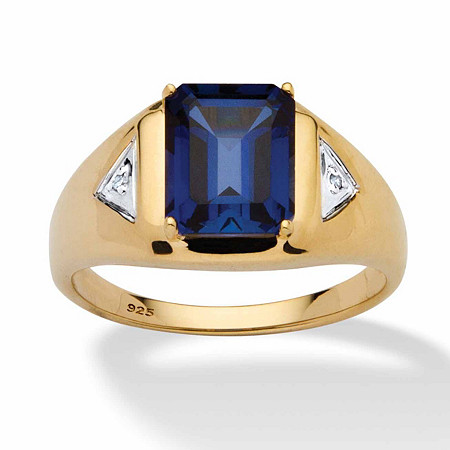 Men's 4 TCW Emerald-Cut Sapphire Ring in 18k Gold over Sterling Silver
