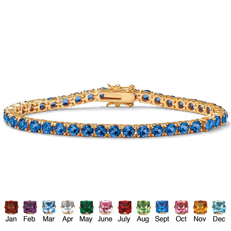 Round Simulated Birthstone 14k Yellow Gold-Plated Tennis Bracelet 7