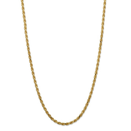 18k Yellow Gold over Sterling Silver Diamond-Cut Rope Chain Necklace 20