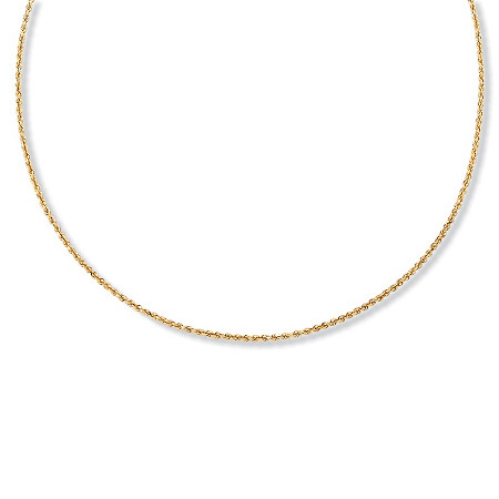 18k Gold over Sterling Silver Diamond-Cut Rope Chain Necklace 24
