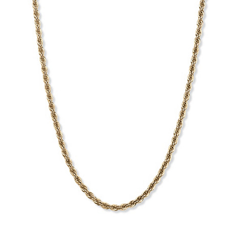 Men's 18k Gold over Sterling Silver Rope Chain Necklace Chain 20