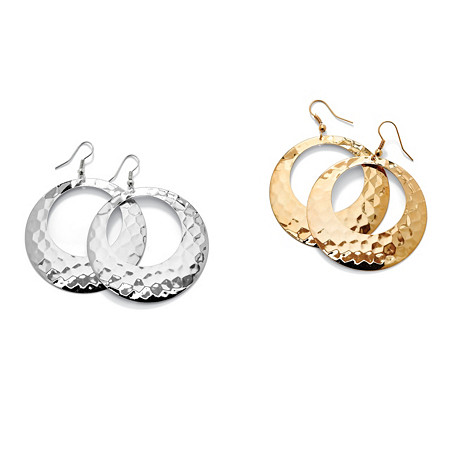 2 Pair Hammered-Style Hoop Earrings Set in Yellow Gold Tone and Silvertone