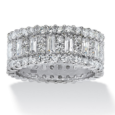 4.80 TCW Baguette Cubic Zirconia Eternity Band in Platinum over Sterling Silver