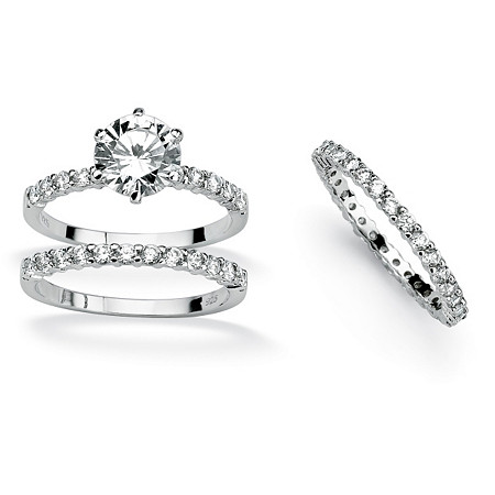 3.75 TCW Round Cubic Zirconia Platinum Over Sterling Silver Bridal Engagement Ring Set