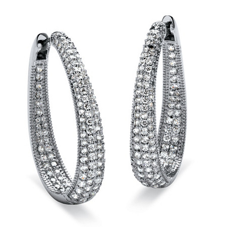 8.10 TCW Round Cubic Zirconia Silvertone Oval-Shape Inside-Out Huggie Hoop Earrings