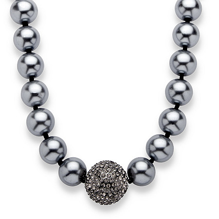 Simulated Grey Pearl and Multi-Crystal Accent Black Rhodium-Plated Necklace Adjustable 18 to 21