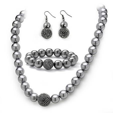 3 Piece Grey Pearl and Crystal Necklace, Bracelet, Earrings Set in Black Rhodium-Plated