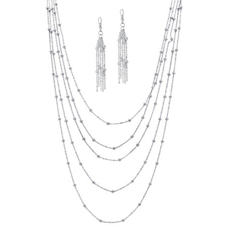 Silvertone Multi-Chain Beaded Station Necklace and Earrings Set Adjustable 33 to 37