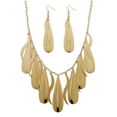2 Piece Teardrop Necklace and Earrings Set in Yellow Gold Tone