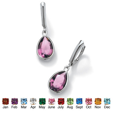 Pear-Shaped Simulated Birthstone Sterling Silver Drop Earrings