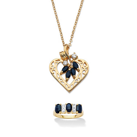 3 1/4 TCW Oval-Cut Sapphire 18k Gold over Sterling Silver Ring and Yellow Gold Tone Pendant & Chain