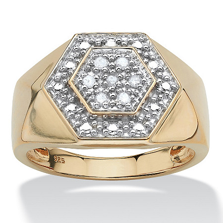 Men's .10 TCW Round Diamond 18k Gold Over Sterling Silver Hexagon-Shape Ring