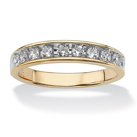 Men's .60 TCW Round Cubic Zirconia Wedding Ring in 18k Gold over Sterling Silver