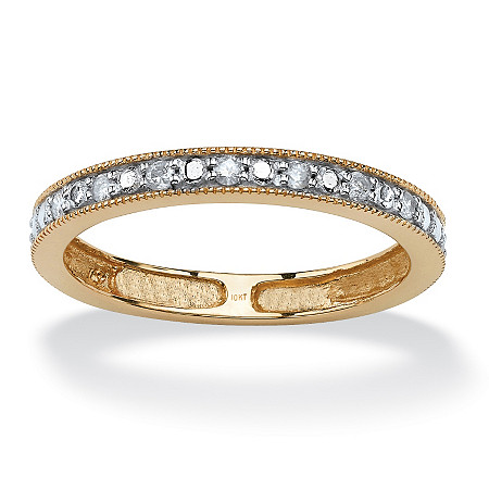 1/10 TCW Round Diamond 10k Yellow Gold Channel-Set Anniversary Wedding Eternity Band Ring