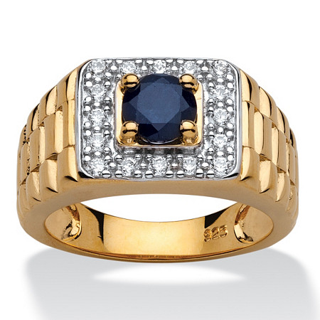 Men's 1.05 Carat Genuine Midnight Blue Sapphire 18k Yellow Gold over Sterling Silver Classic Ring