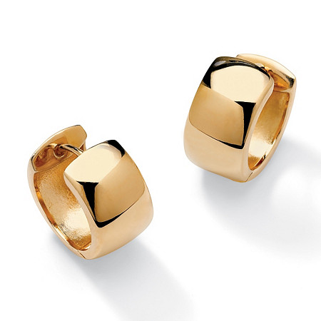 18k Gold over Sterling Silver Huggie-Style Hoop Lever-Back Earrings