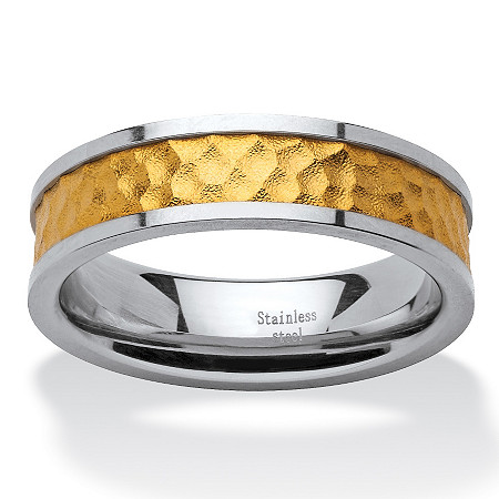 18k Gold Inlay & Stainless Steel Hammered-Style Band Ring