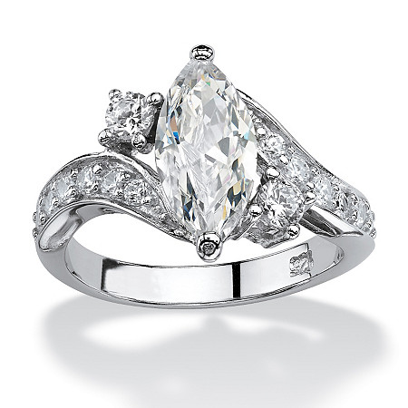 2.49 TCW Marquise-Cut Cubic Zirconia Engagement Anniversary Ring in Sterling Silver