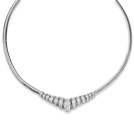 1/10 TCW Round Diamond Platinum over Sterling Silver Chevron-Shaped Snake-Chain Necklace 20