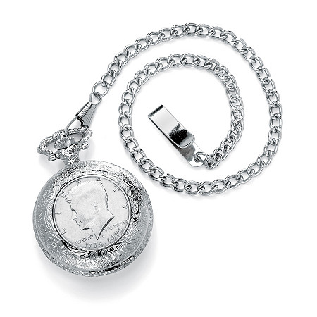 Men's JFK Bicentennial Half-Dollar Coin Pocket Watch in Silvertone