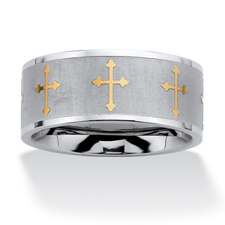Cross Eternity Band in Stainless Steel and Yellow Gold Tone