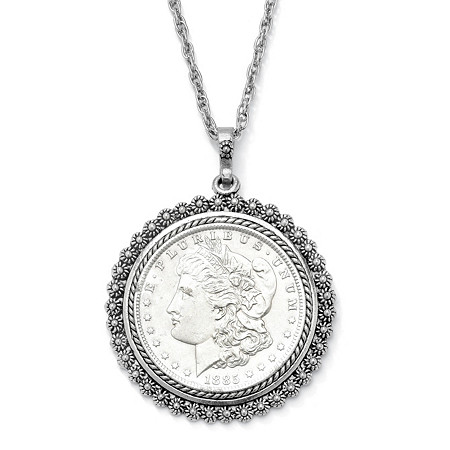 Silvertone Uncirculated Genuine Morgan Lady Liberty Dollar Drop Pendant and Chain 24