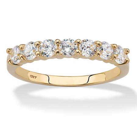.70 TCW Round Cubic Zirconia 10k Yellow Gold Anniversary Stack Band Ring