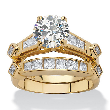 3.14 TCW Cubic Zirconia 18k Gold over Sterling Silver 2-Piece Bridal Engagement Ring Set