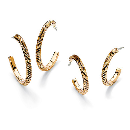 2 Pair Mesh Hoop Earrings in Yellow Gold Tone