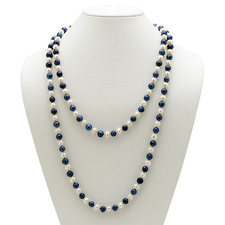 Round Navy Blue and White Cultured Freshwater Pearl Endless Necklace 48