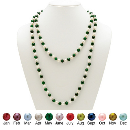 Round Birthstone-Color Cultured Freshwater Pearl Endless Necklace 48
