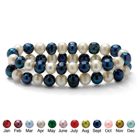 Round Birth Month Cultured Freshwater Pearl Set of Two Stretch Bracelets 7