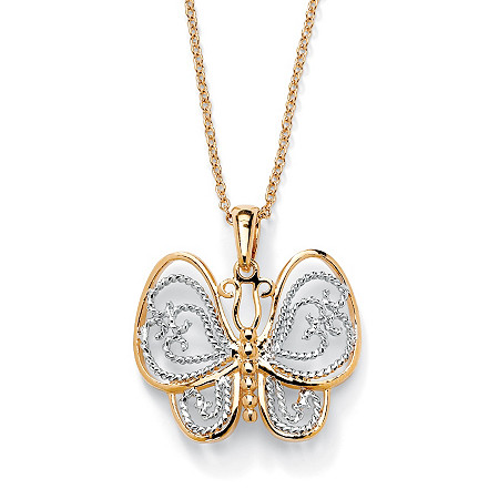 18k Yellow Gold-Plated Two-Tone Filigree Butterfly Charm Pendant and Rollo-Link Chain 18