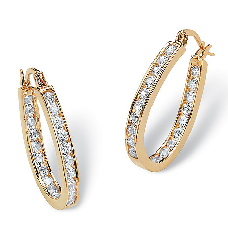 2.52 TCW Round Cubic Zirconia Inside-Out Hoop Earrings in Yellow Gold Tone
