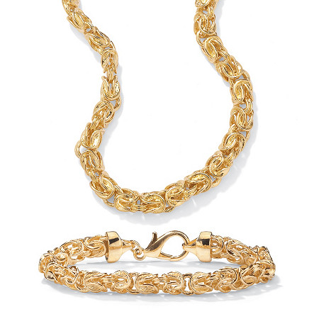 14k Gold-Plated Byzantine-Link Necklace and Bracelet Set