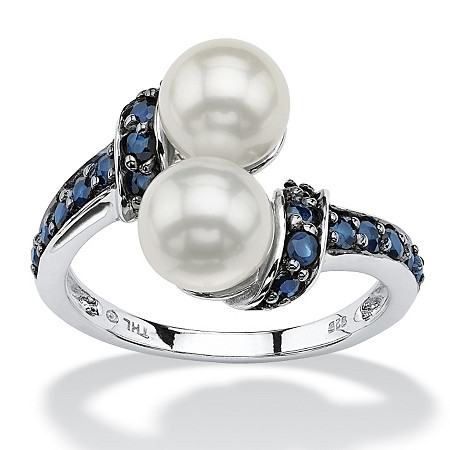 .79 TCW Midnight Blue Genuine Sapphire and Freshwater Pearl Platinum Over Sterling Silver Ring