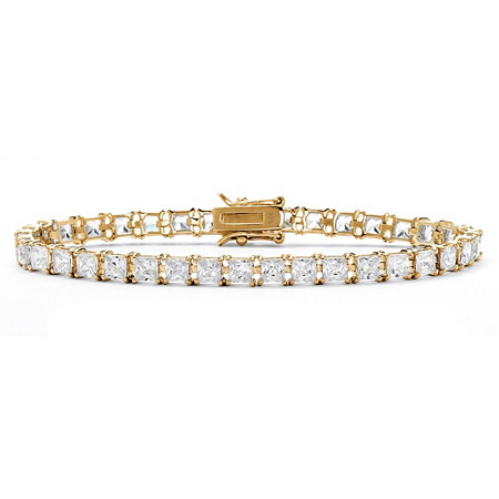 13.32 TCW Princess-Cut Cubic Zirconia 18k Yellow Gold Over Sterling Silver Tennis Bracelet 7 1/2