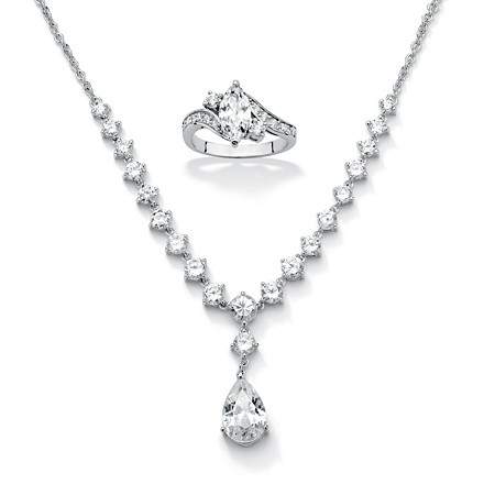 2.49 TCW Cubic Zirconia Sterling Silver Ring + FREE CZ Silvertone Y Neck Necklace, 6.65 TCW
